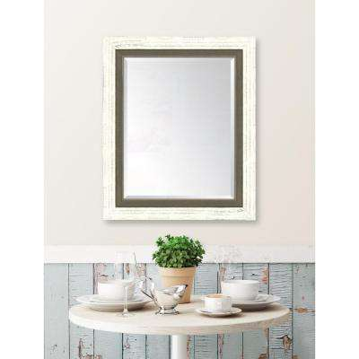 30 in. x 36 in. Framed French White Large and Farmhouse Brown Mirror