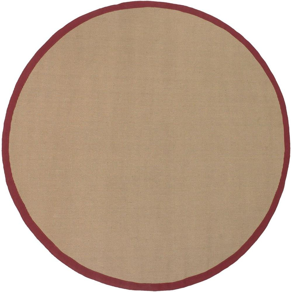 Chandra Bay Tan/Red 7 ft. 9 in. Indoor Round Area Rug