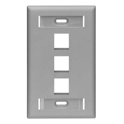 1-Gang Quickport Standard Size 3-Port Wallplate with ID Windows, Gray