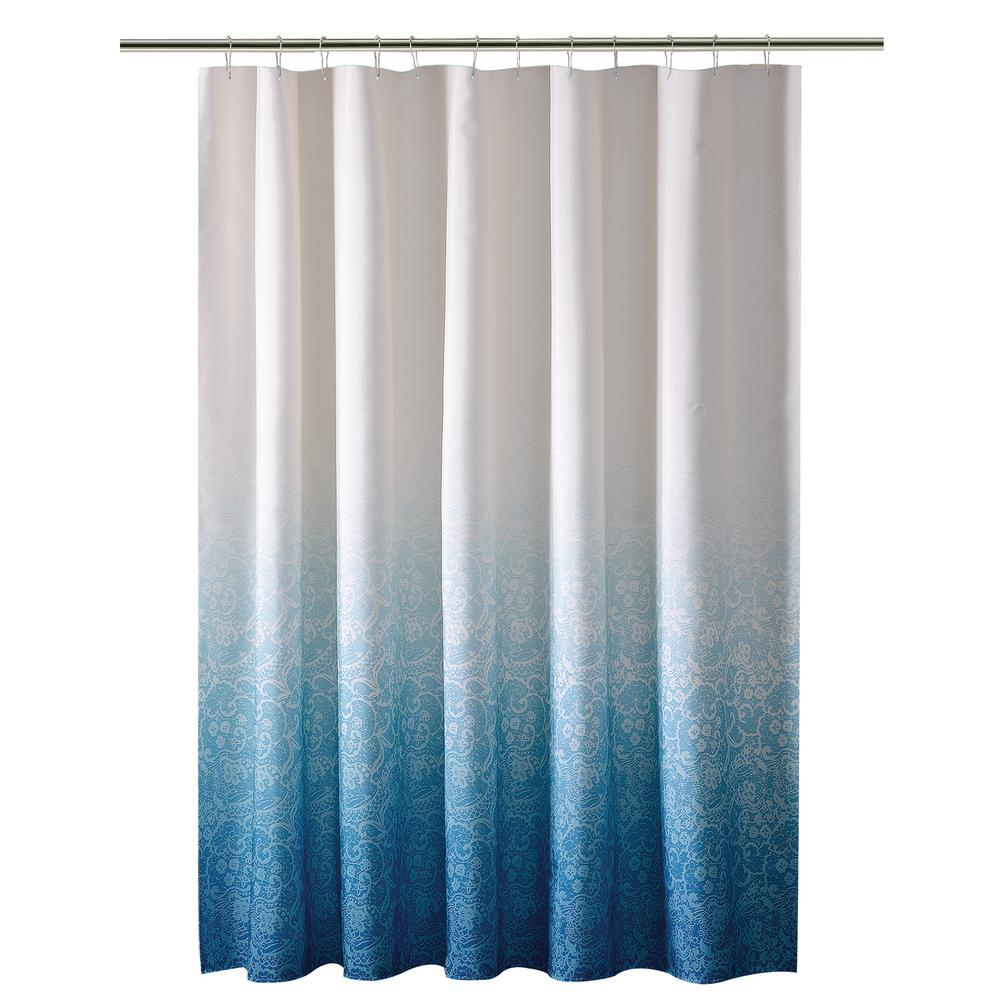 Ombre Printed Polyester Blue Shower Curtain