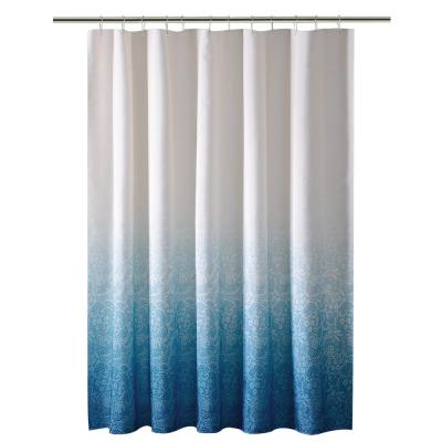 70 in. x 72 in. Ombre Printed Polyester Blue Shower Curtain