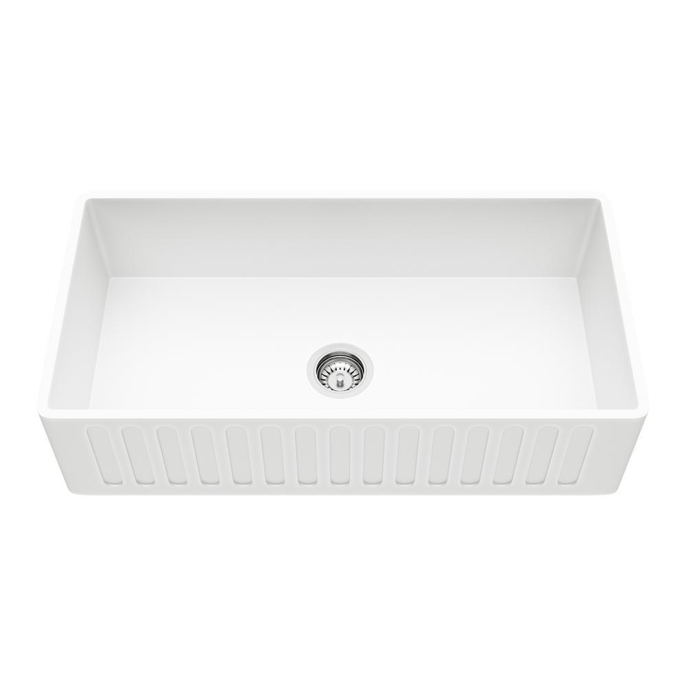 High Quality VIGO Reversible Farmhouse Matte Stone 36 In. Single Bowl Kitchen Sink In  White
