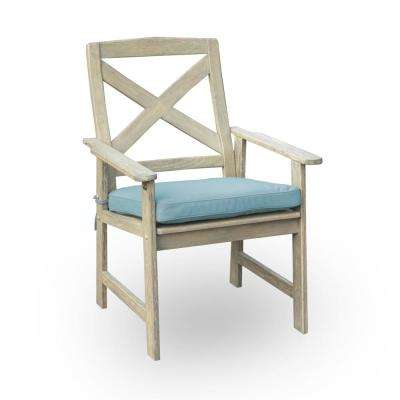 Tulle Solid Wood Outdoor Dining Chair with Blue Cushion (2-Pack)