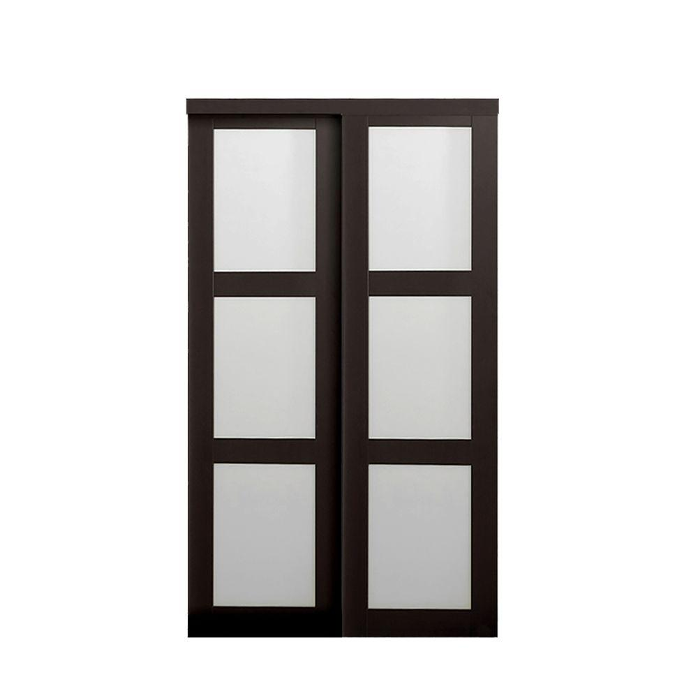 TRUporte Grand 48 in. x 80 in. 2290 Series Composite Espresso 3-Lite Tempered Frosted Glass Sliding Door