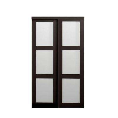 2290 Series Composite Espresso 3-Lite Tempered Frosted Glass Sliding Door  sc 1 st  The Home Depot & Sliding Doors - Interior \u0026 Closet Doors - The Home Depot