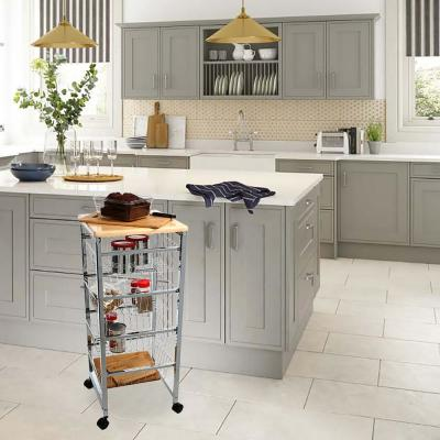 4-Tier Silver Wire Basket Utility Cart with Wood Surface