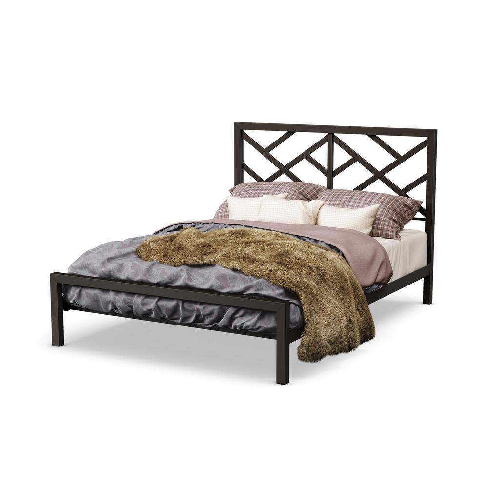 Windmill Textured Dark Brown Metal Queen Size Bed