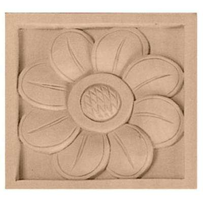 5 in. x 1 in. x 5 in. Unfinished Wood Maple Large Sunflower Rosette