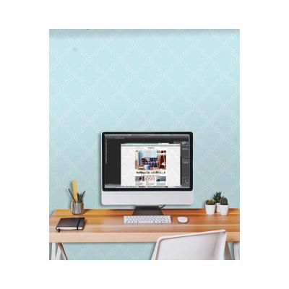 Blue Quatrefoil Peel and Stick Wallpaper