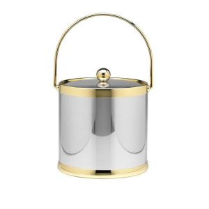 Kraftware Americano 3 Qt. Polished Chrome & Brass Ice Bucket with Brass Lid, Metal Bale Handle by Kraftware