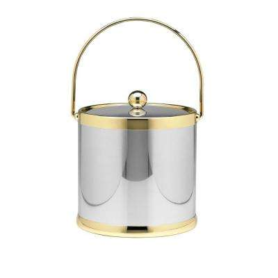 Americano 3 Qt. Polished Chrome & Brass Ice Bucket with Brass Lid, Metal Bale Handle