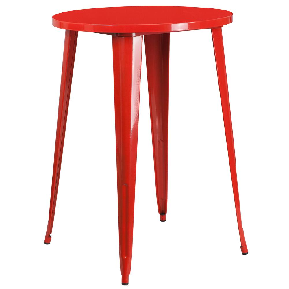 Red Round Metal Outdoor Bistro Table