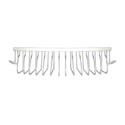 Large 9 in. x 9 in. Stainless Steel (SS304) Corner Soap and Bottle Basket in Polished Chrome