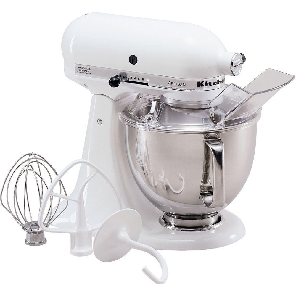 Artisan 5 Qt. White Stand Mixer The KitchenAid KSM150PSWH White Stand Mixer is incredibly versatile and more than a mixer. With all the available attachments, you can use it to make homemade pasta, stuff fresh sausage, whip up ice cream, and give fruit a squeeze. This model has a 325-Watt motor, 5 Qt. stainless steel bowl with comfort handle, pouring shield and a tilt-back mixer head design that provides easy access to bowl and beaters.