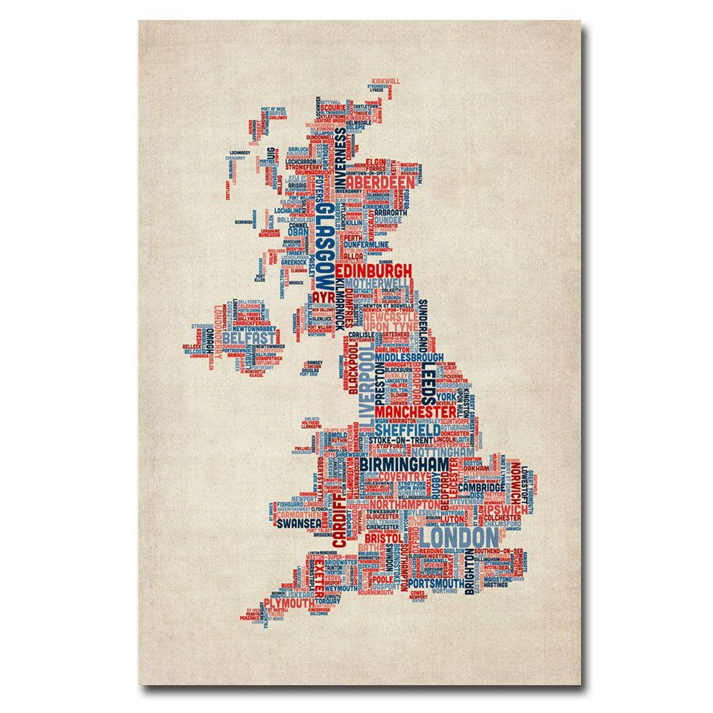 Trademark Fine Art 22 in. x 32 in. UK - Cities Text Map Canvas Art-DISCONTINUED