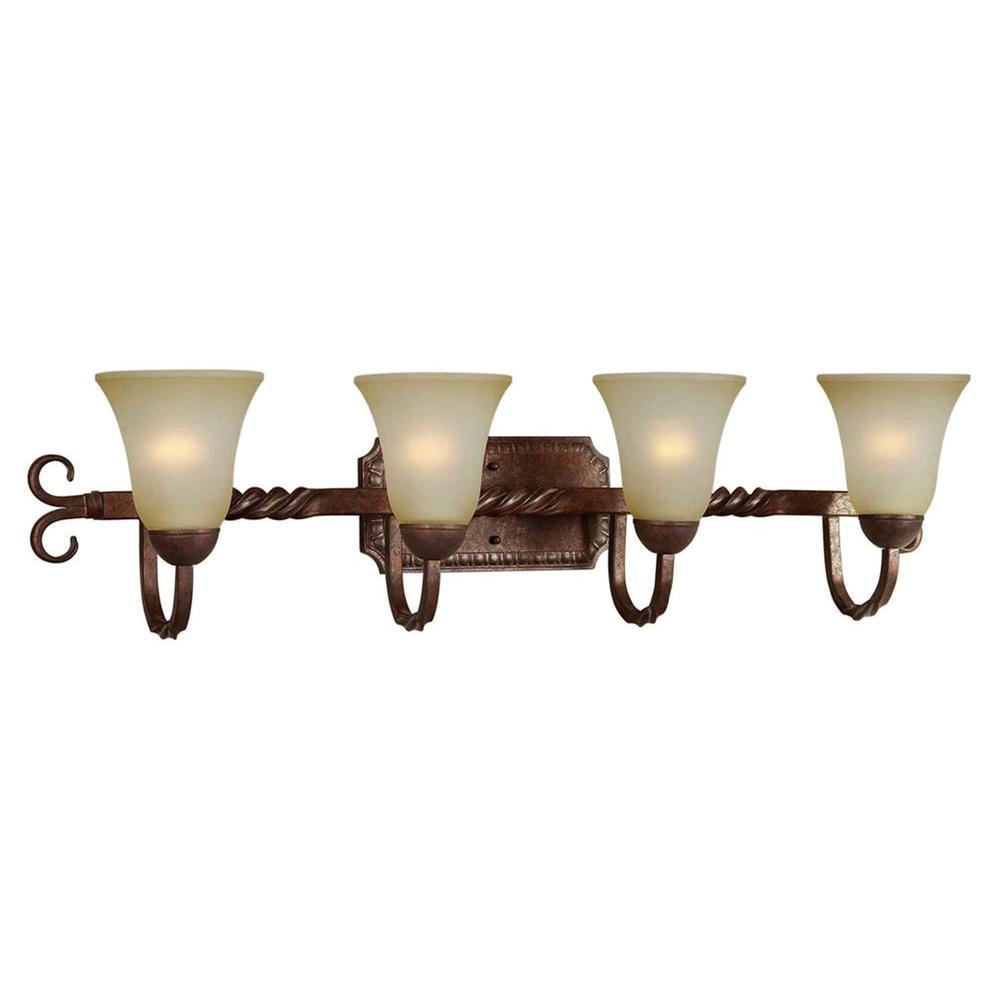 Talista 4-Light Black Cherry Bath Vanity Light with Umber Mist Glass-CLI-FRT5112-04-27 - The ...