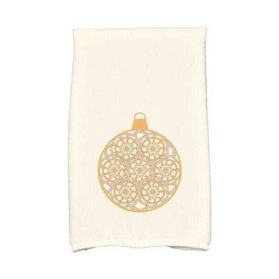 16 in. x 25 in. Gold Snowflake Bulb Holiday Geometric Print Kitchen Towel