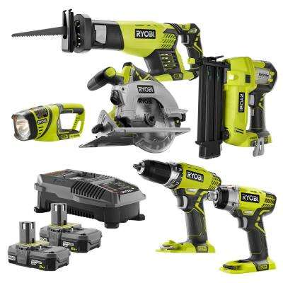 18-Volt ONE+ 6-Tool Combo Kit with (2) 2.0 Ah Batteries and 18-Volt Charger