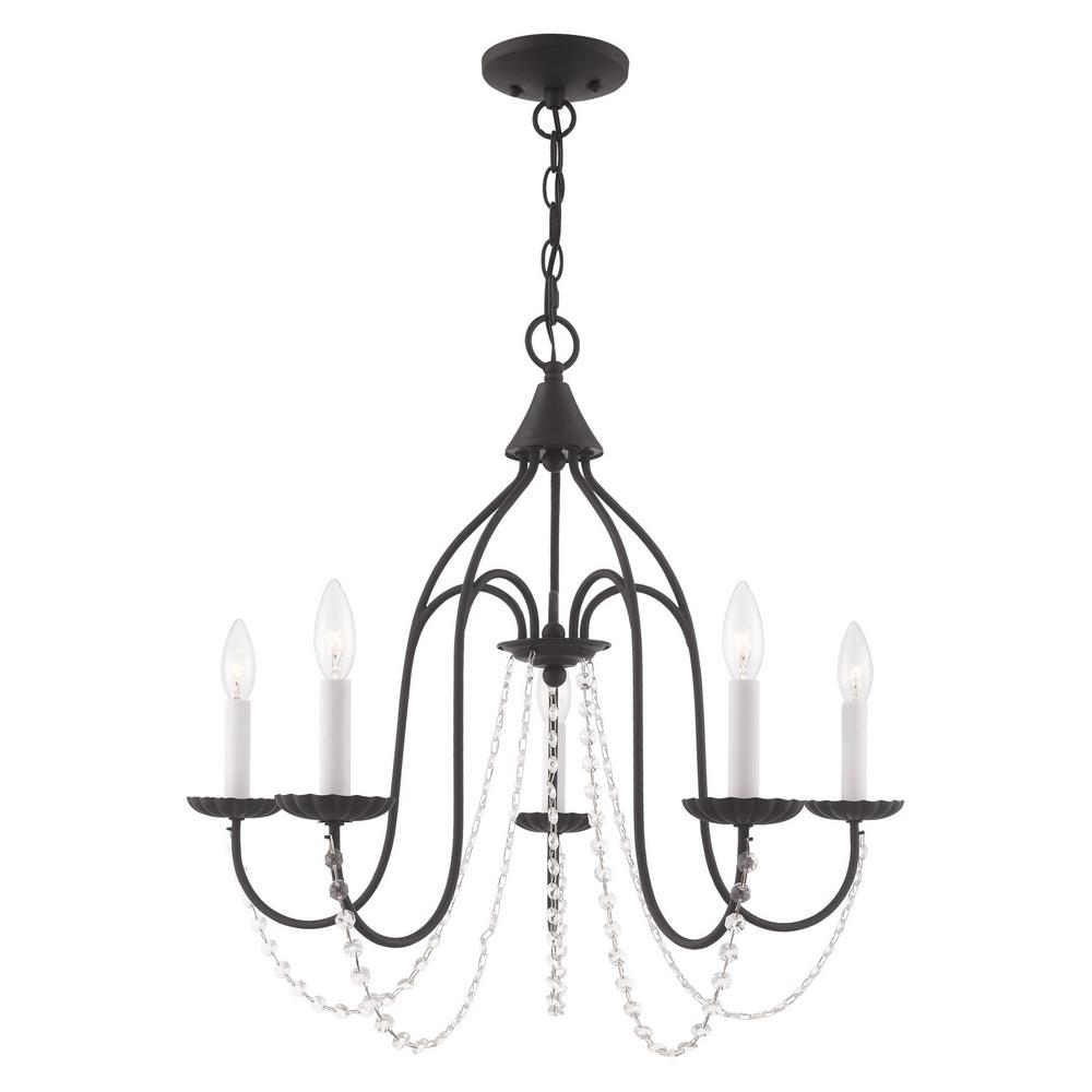 Livex Lighting Alessia 5 Light Black Chandelier With Clear Crystals