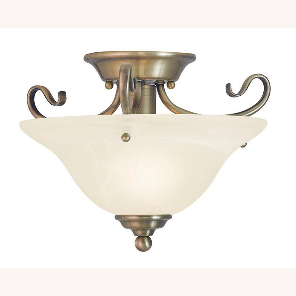 Coronado 1-Light Antique Brass Flushmount