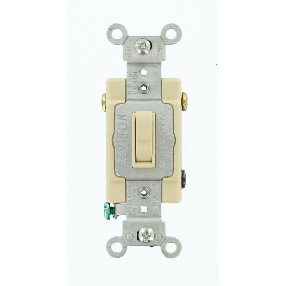 15 Amp Commercial Grade 3-Way Toggle Switch, Ivory