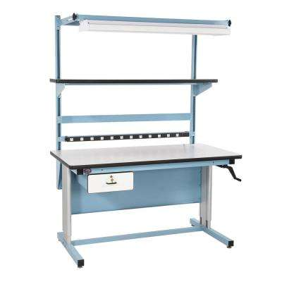 60 in. x 30 in. Ergonomic Height Adjustable Work Bench with Plastic Laminate Work Surface, Bench in a Box Light Blue