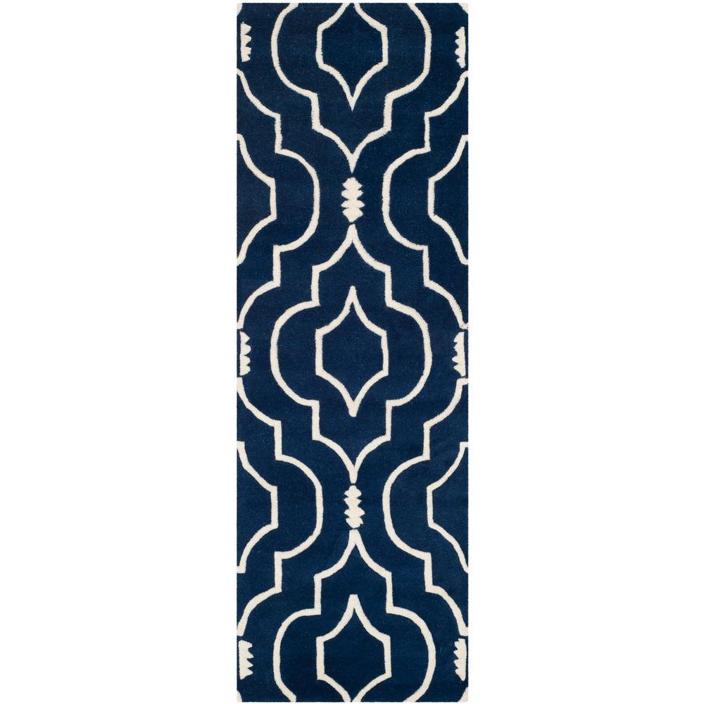 Safavieh Chatham Dark Blue Ivory 2 Ft X 5 Ft Runner Rug Cht736c 25 The Home Depot
