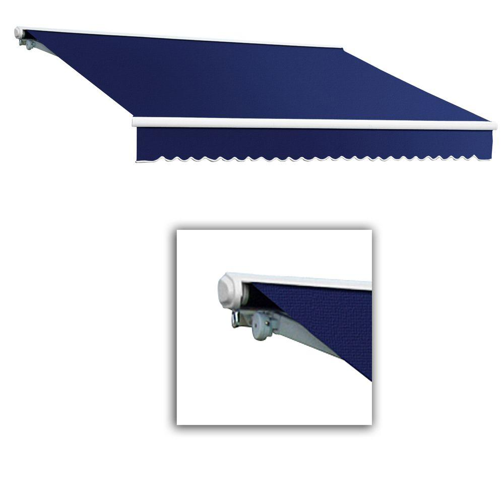 AWNTECH 14 ft. Galveston Semi-Cassette Right Motor with Remote Retractable Awning (120 in. Projection) in Navy