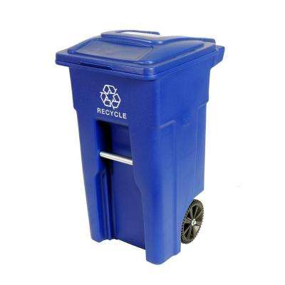 32 Gal. Blue Rollout Recycling Container with Attached Lid