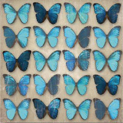 Black Metallic Butterflies wall art, unframed print with blue and black metallic finish, 22.4 in. x 22.4 in. x 2 in.