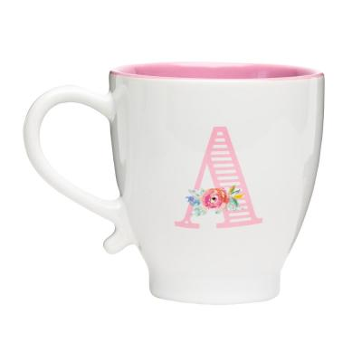 Monogram A 20 oz. White-Pink Ceramic Coffee Mug