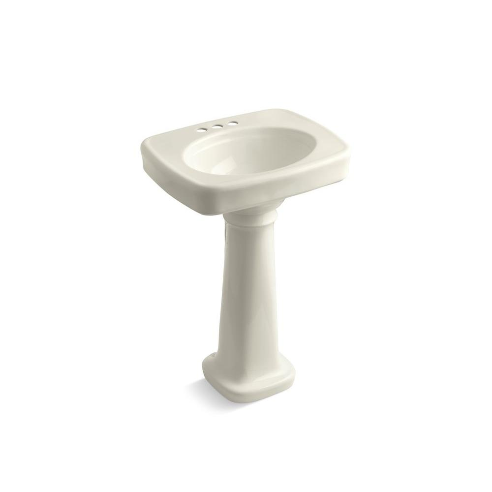 KOHLER Bancroft Vitreous China Pedestal Sink Combo with 4 in. Centers in Biscuit with Overflow Drain