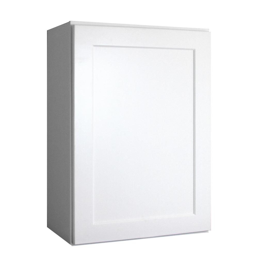 Lakewood Cabinets Shaker Ready to Assemble 12x30x12 in. Plywood Wall Cabinet with 1 Soft Close Door in White  and 2 Adjustable Shelves