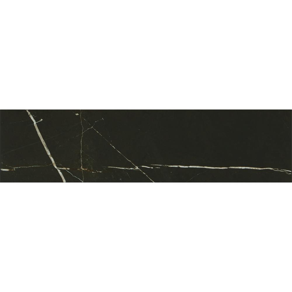 Marble View Black Marble Polished 12 in. x 48 in. Color