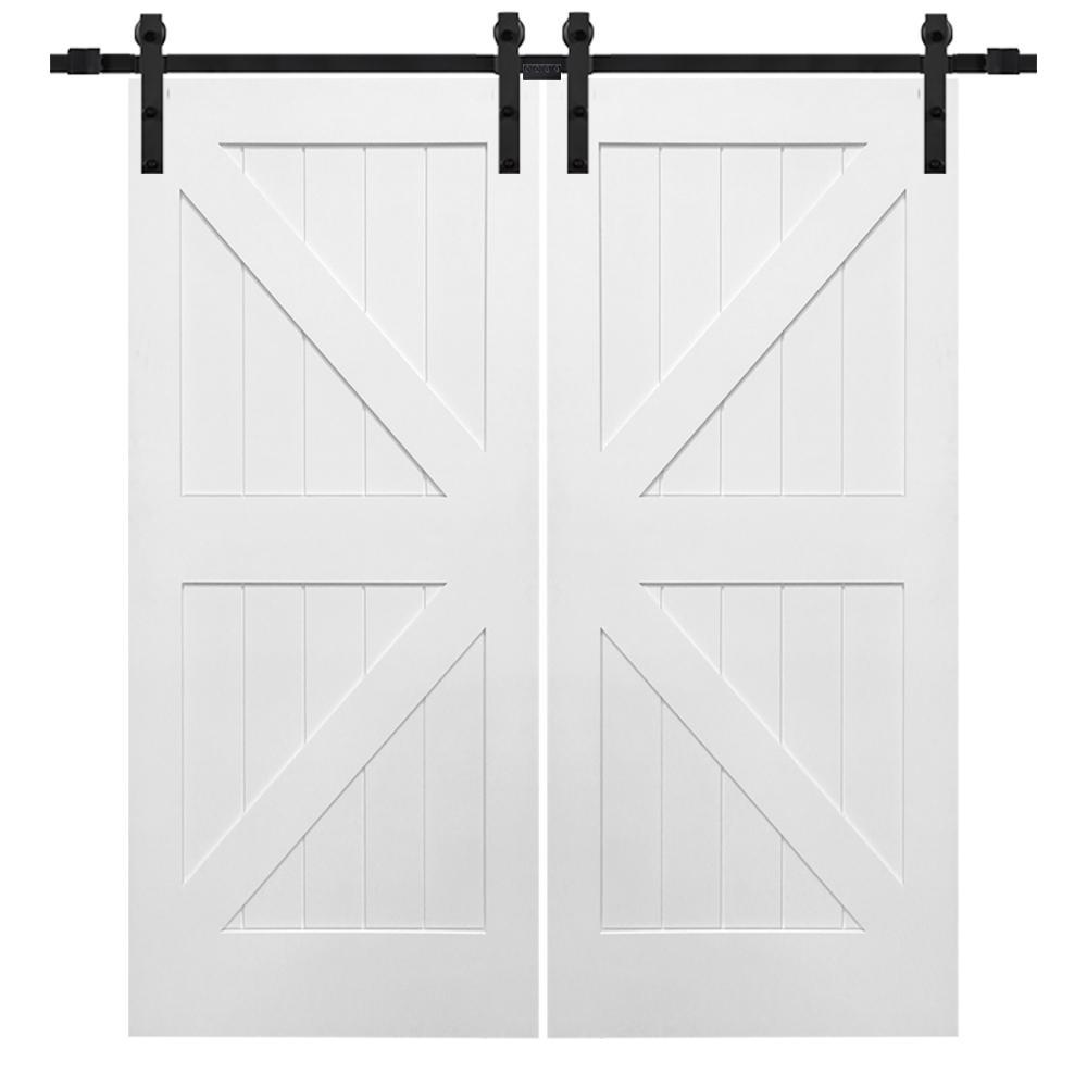 84 in. x 84 in. Primed Composite K-Plank Double Barn Door with Matte Black Sliding Door Hardware Kit