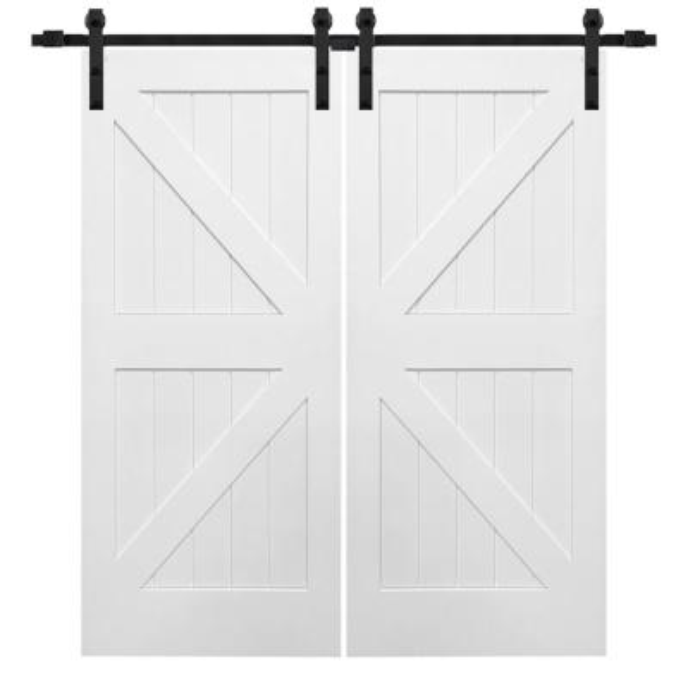 72 in. x 84 in. Primed Composite K-Plank Double Sliding Barn Door with Matte Black Hardware Kit