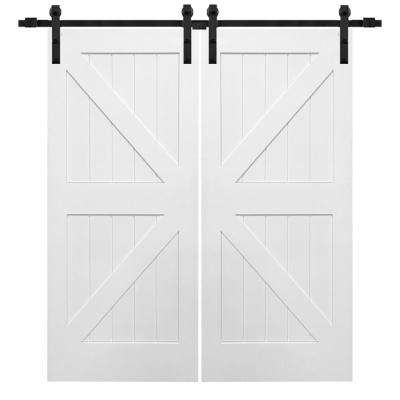 72 in. x 84 in. Primed Composite K-Plank Double Sliding Barn Door with Matte Black Hardware Kit