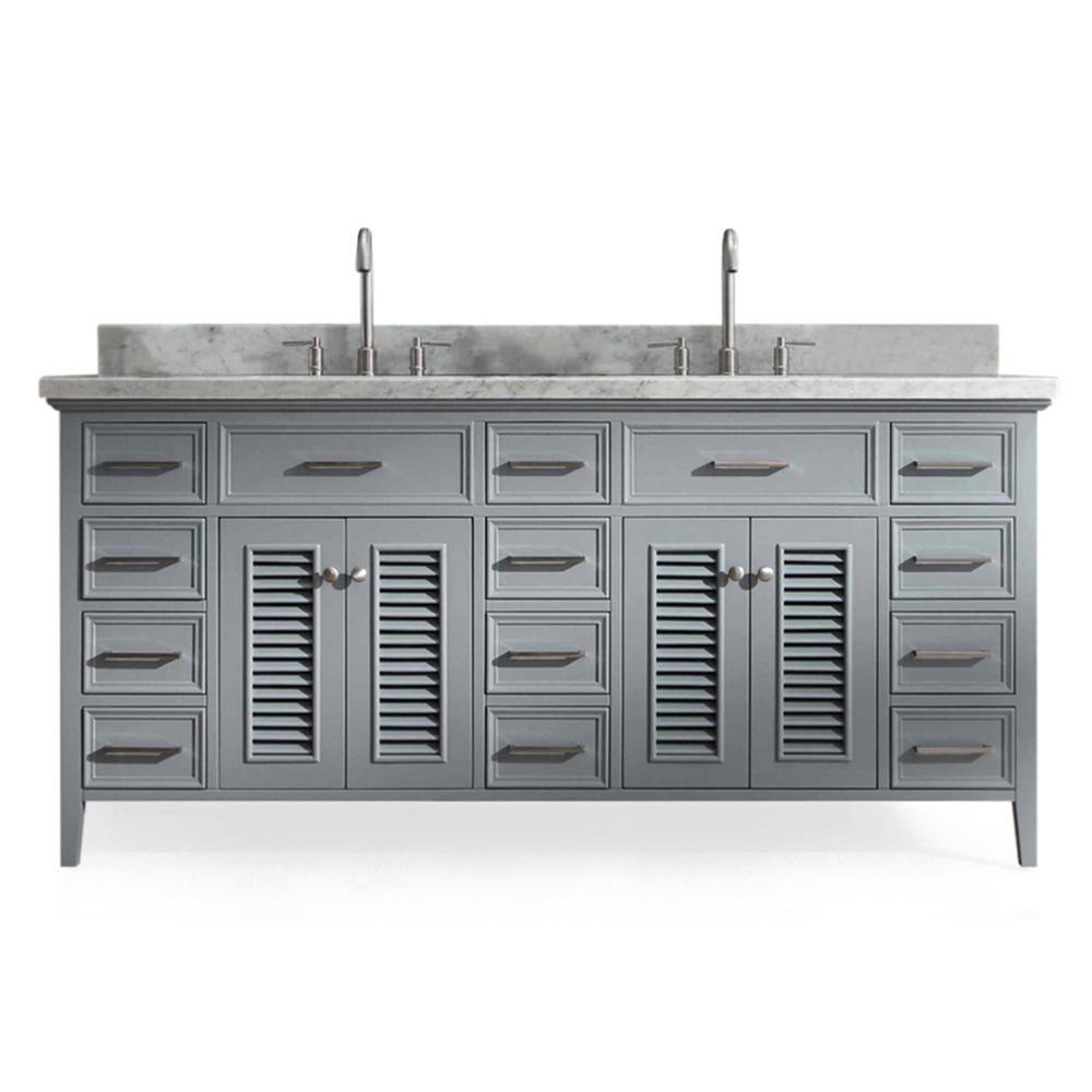 Ariel Kensington 73 in. Bath Vanity in Grey with Marble Vanity Top in Carrara White with White Basin