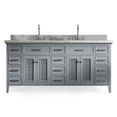 Kensington 73 in. Bath Vanity in Grey with Marble Vanity Top in Carrara White with White Basin