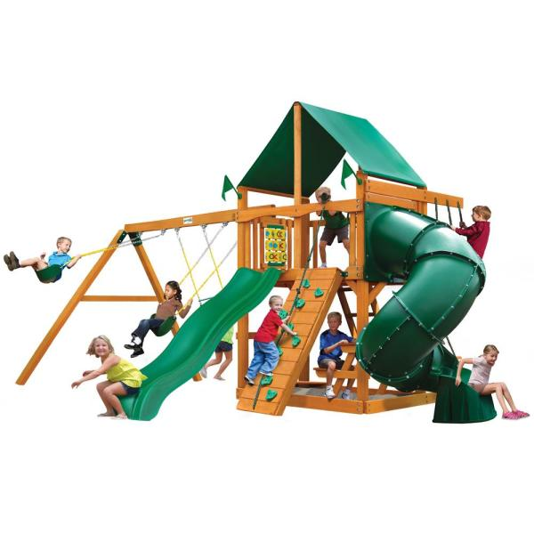Mountaineer Wooden Swing Set with Green Vinyl Canopy and 2 Slides