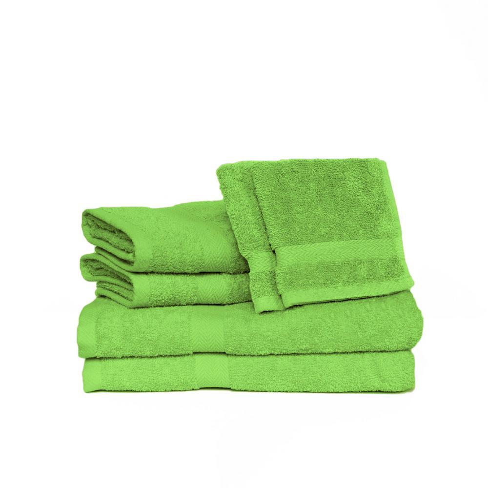 Espalma Deluxe 6-Piece Cotton Terry Bath Towel Set in Lime 843471