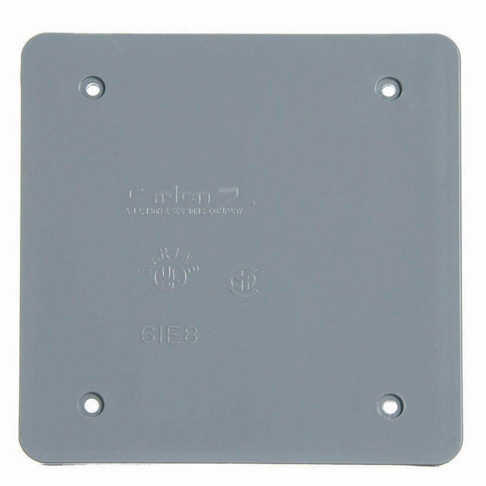 2-Gang Blank FS Box Cover Grey (Case of 10)
