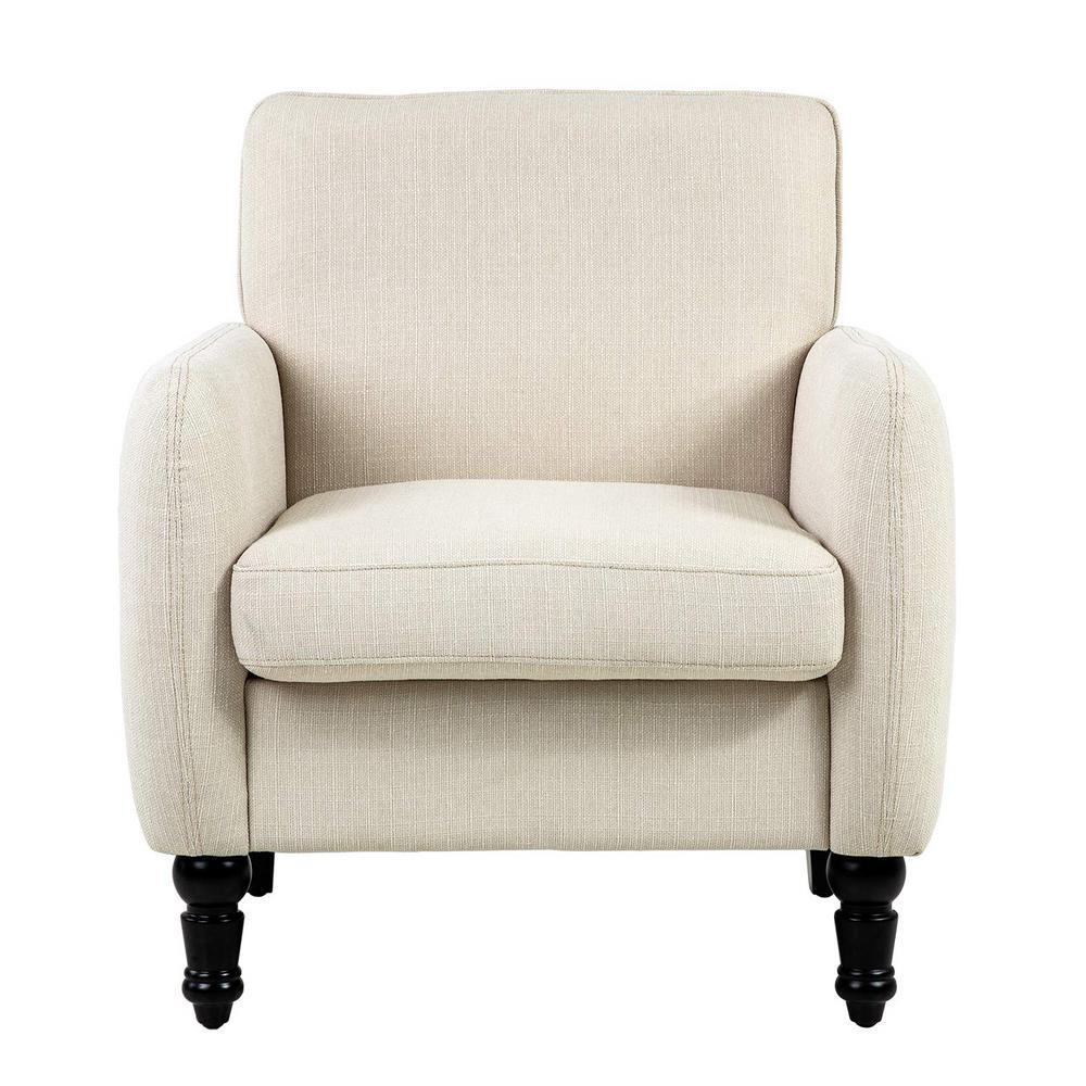 Beige Modern Fabric Accent Arm Chair