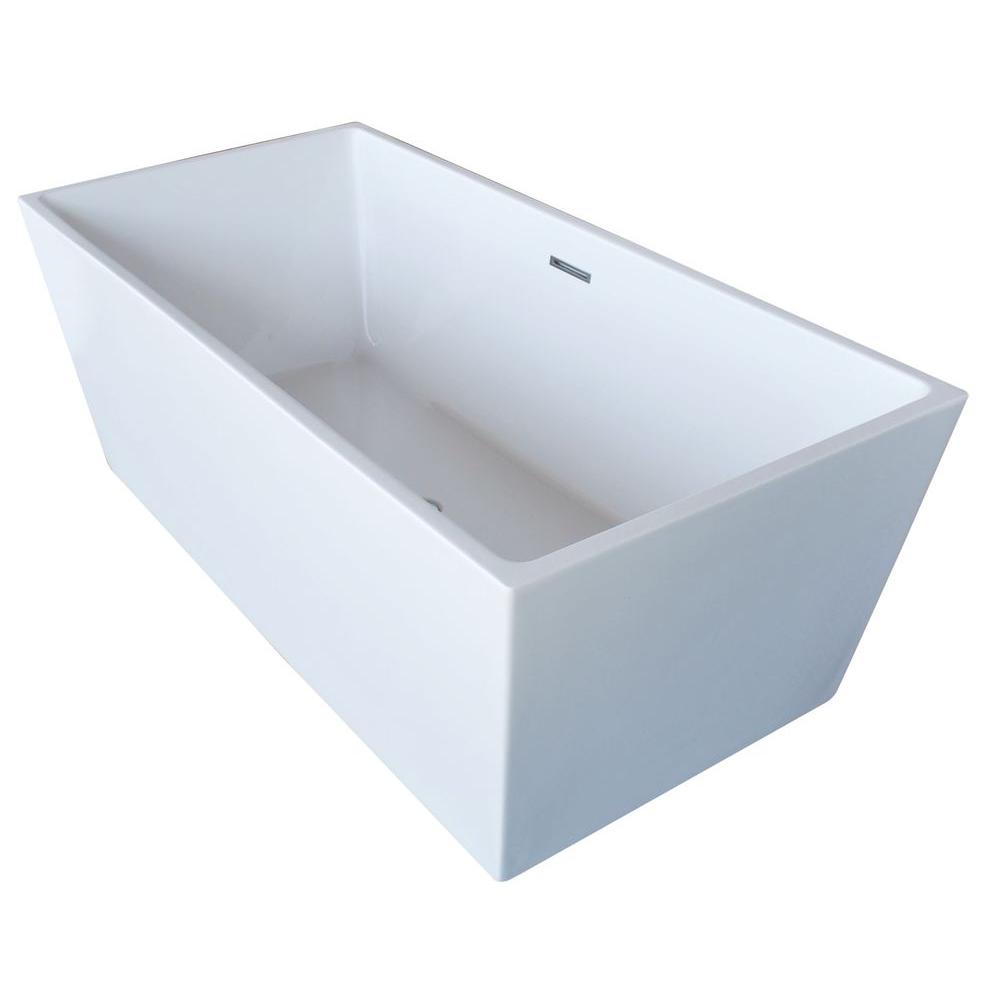 Fjord 5.6 ft. Acrylic Center Drain Freestanding Bathtub in Glossy White