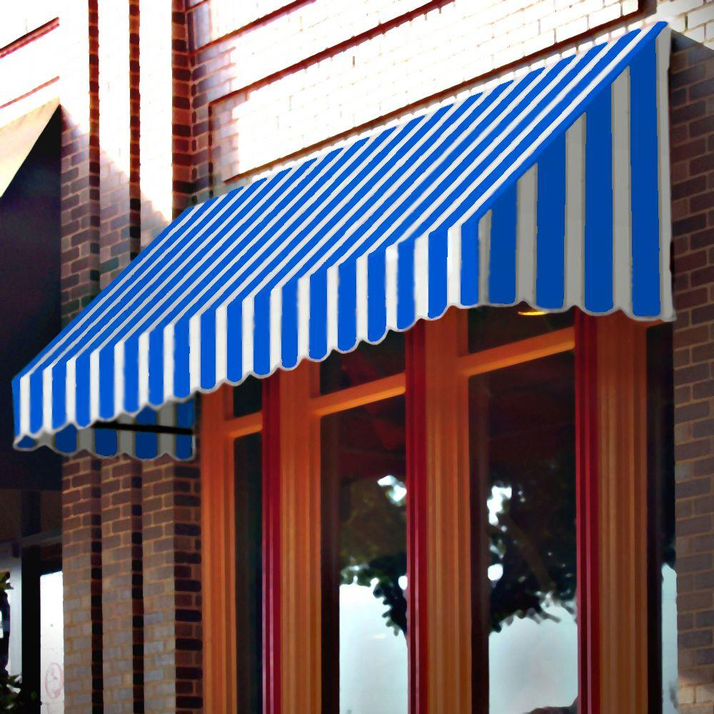 AWNTECH 20 ft. San Francisco Window/ Entry Awning (24 in. H x 42 in. D) in Bright Blue/White Stripe