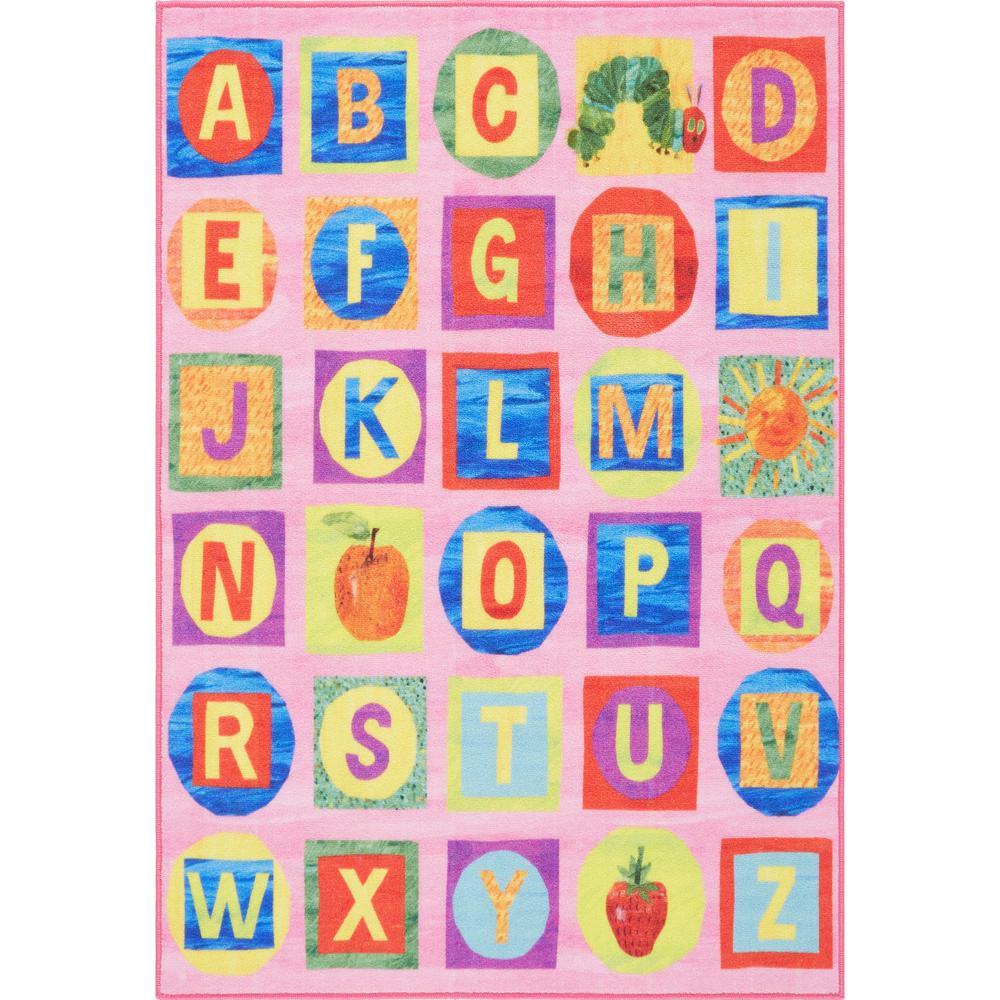 Elementary Alphabet Pink 4 ft. 11 in. x 6 ft. 6 in. Indoor Area Rug
