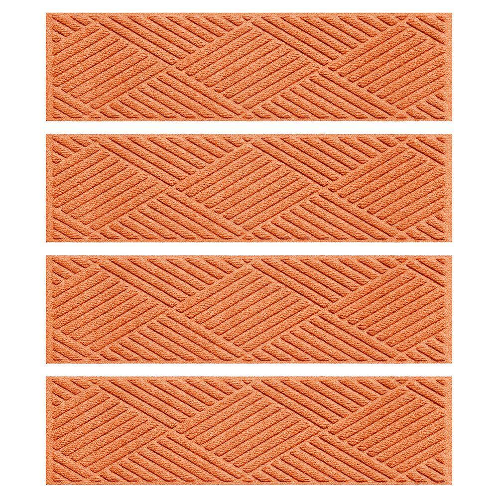 Orange 8.5 in. x 30 in. Diamonds Stair Tread Cover (Set of 4)