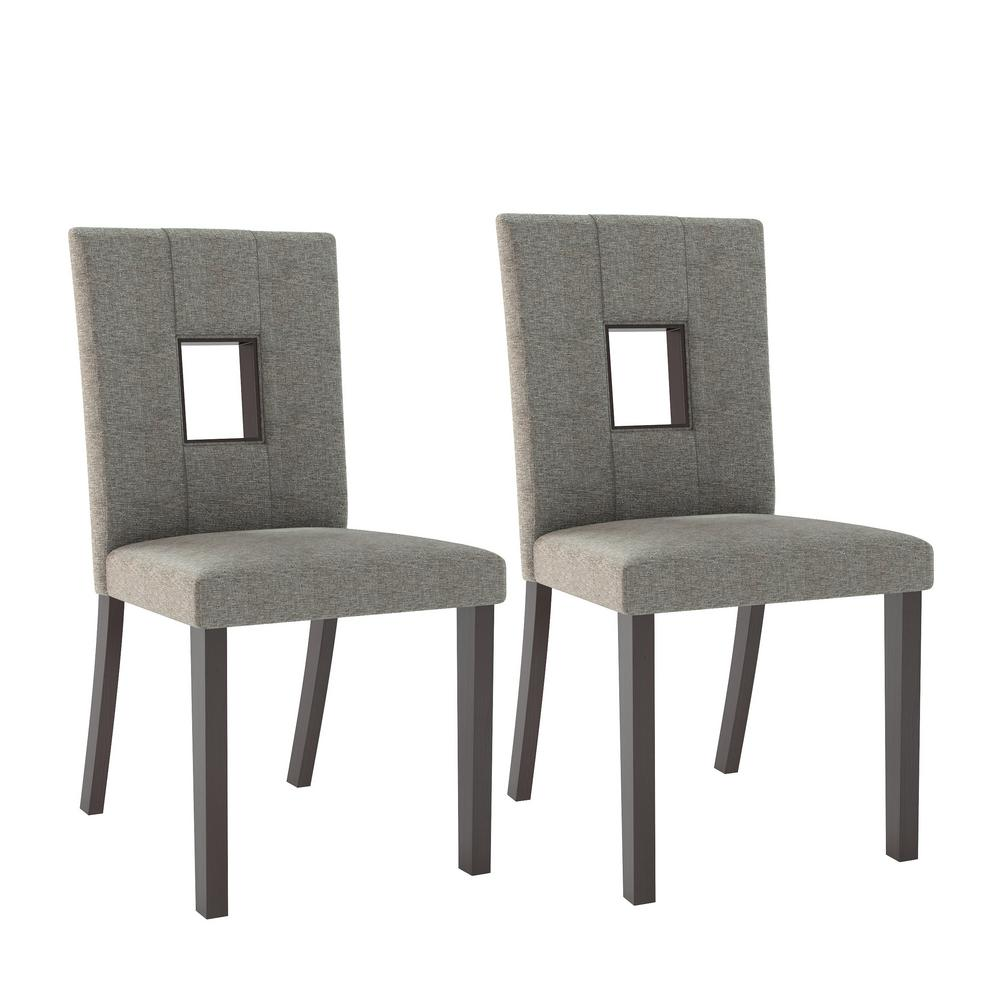 Bistro grey sand fabric dining chairs set of 2