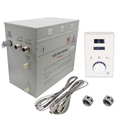Superior 12kW Deluxe Self-Draining Steam Bath Generator Digital Programmable Control in White and 2 Chrome Steam Outlets