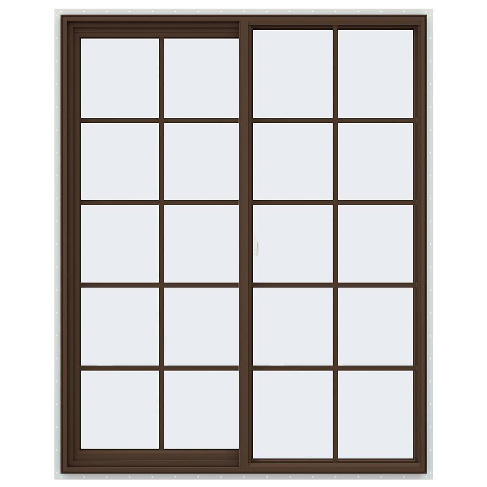 JELD-WEN 47.5 in. x 59.5 in. V-2500 Series Left-Hand Sliding Vinyl Window with Grids - Brown